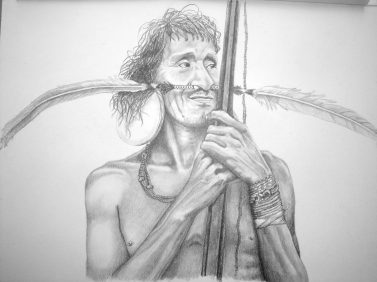 Auca indian drawing